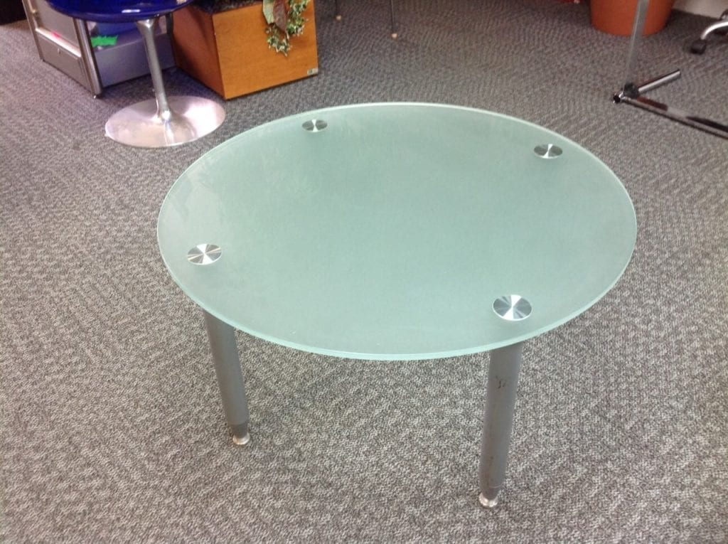 Frosted Green Glass Top Coffee Table Used Second Hand Office Furniture
