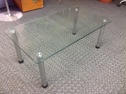 Rectangle Glass Top Coffee Table with Chrome Legs