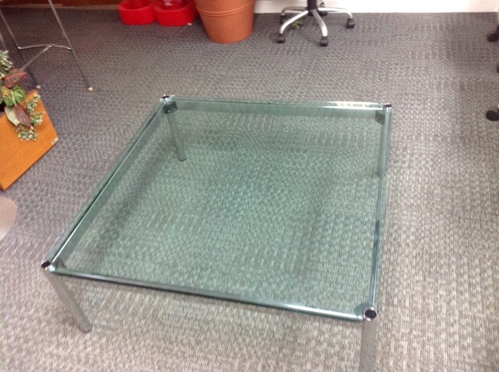 Square glass top coffee table with chrome frame legs second square glass top coffee table with chrome frame legs geotapseo Image collections