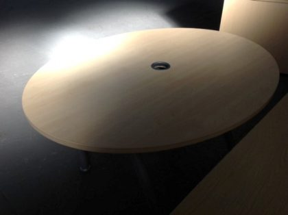 Light Oak Round Meeting Table