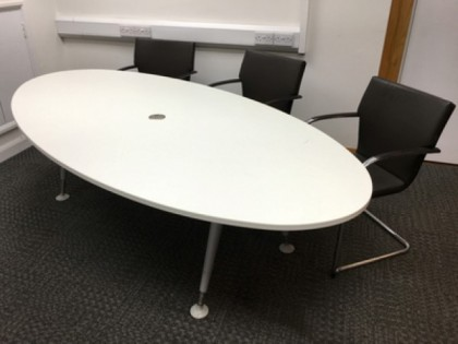 White Oval Meeting Room Table 2400 x 1200mm
