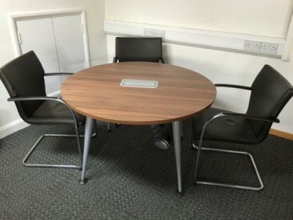 Walnut Meeting Table with Electrics 1200mm