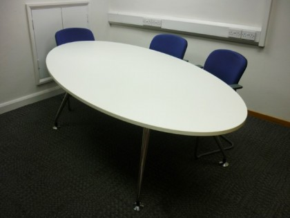 White Oval Meeting Table