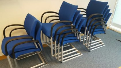 Blue Stackable Cantilever Chairs
