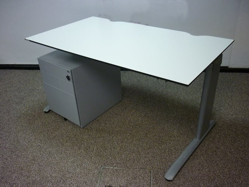 White 1400mm Desks Used Second Hand Office Furniture