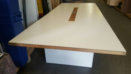 White Boardroom Table with Walnut Edge Detail 3500 x 1400mm