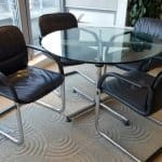 Soft Black Leather Meeting Chairs
