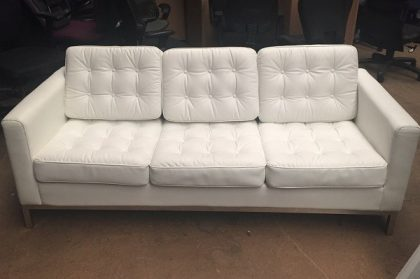 White Leather 3-Seater Sofa
