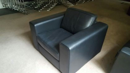 Used Black Leather 2 Seater Sofa