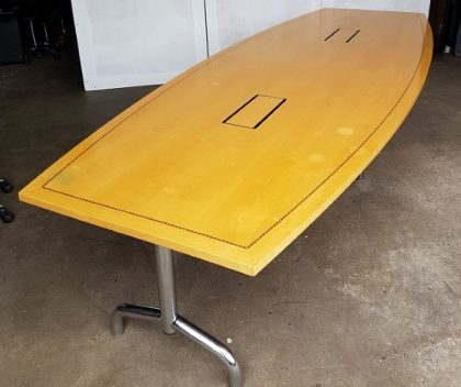 Tula Boat-Shaped Maple Veneer Boardroom Tables 3600 x 1350mm