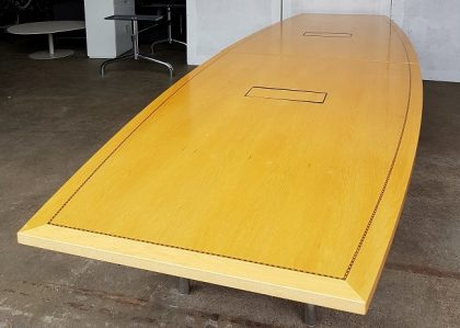 Tula Boat-Shaped Maple Veneer Boardroom Table 4500 x 1350mm