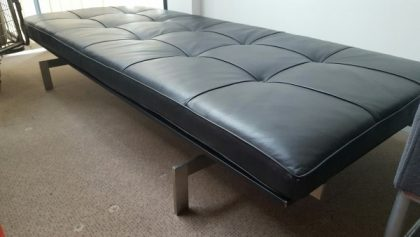 Contemporary Black Leather Bench