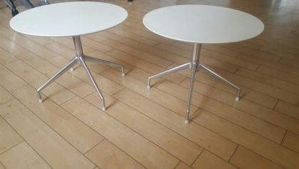 700mm Diameter White Cafe Tables