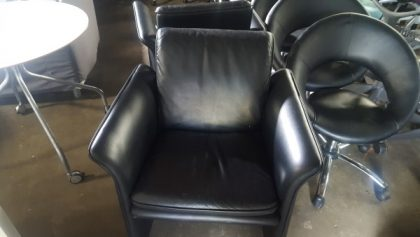 Black Leather Faced Tub Chairs