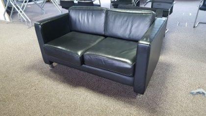 2-Seater Black Leather Sofa