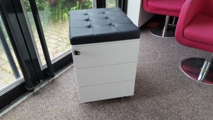 White 3 Drawer Pedestals With Black Leather Cushion Seat