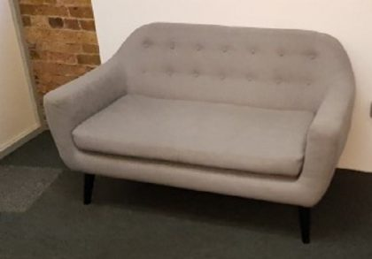 2 Seater Grey Fabric Tub Sofas