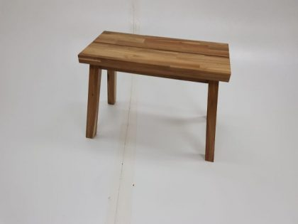 Low Wooden Stools And Matching Bench