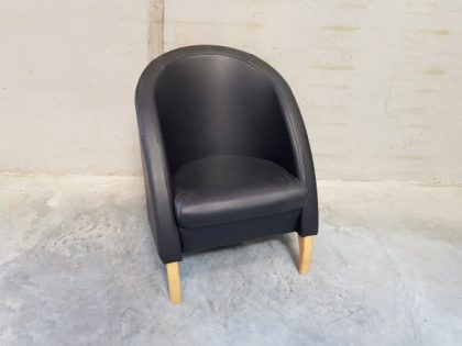 Black Soft Leather Tub Chairs