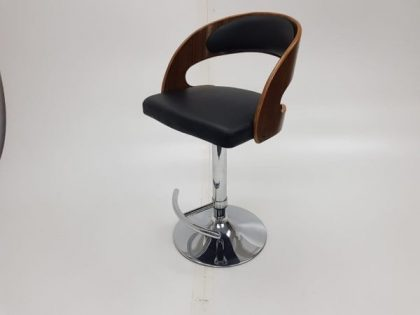 Black Leather Bar Stools With Bentwood Backrests