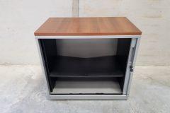 Low Grey Single Door Tambour Cupboards (2)