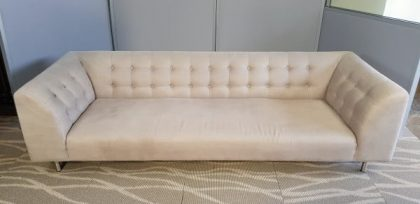 Grey Button Back Three Seater Sofa