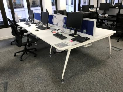 White 1400mm Bench Desks