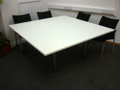 Two Part Square White Meeting Table