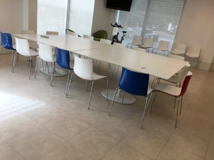 White Rectangular Café Tables