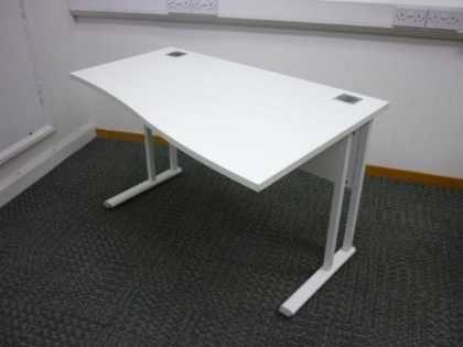 Compact White Wave Desks