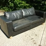 Black Two Seater Leather Sofa