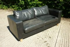 Used Black Two Seater Leather Sofa