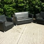 Used Black Leather Sofa and Armchair Set
