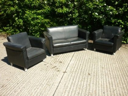 Black Leather Sofa and Armchair Set