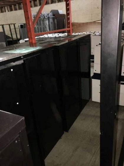 Black Metal Recycling/Disposal Cupboards