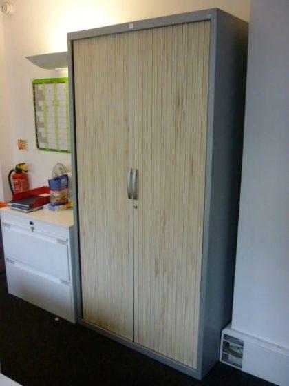 JG Group Grey/Maple Tambour Cupboards