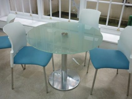Frosted Glass Round Tables