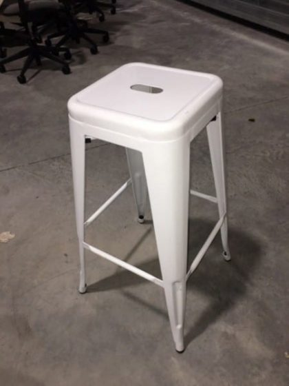 White Metal Retro Bar Stools